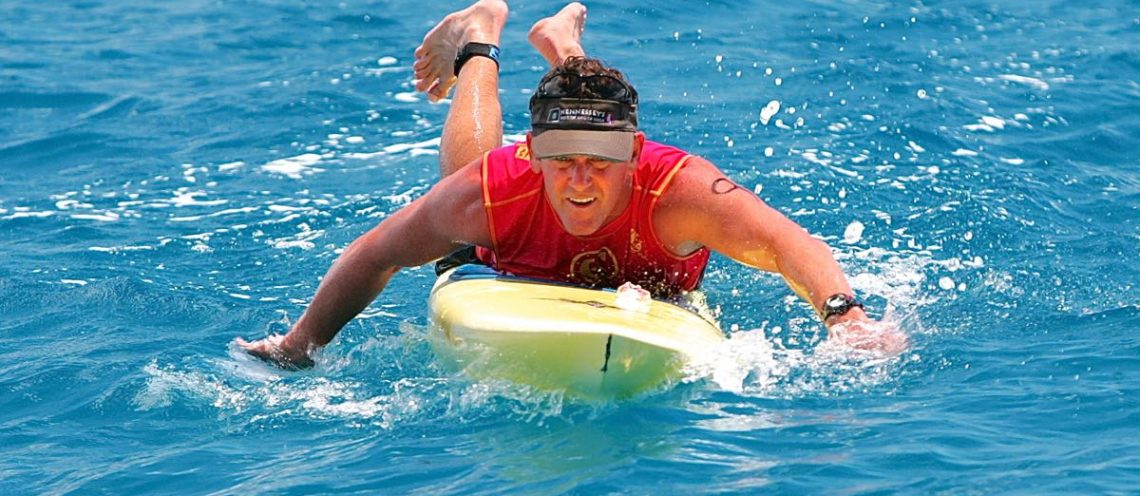 Mike Cheape, Award Winning Teacher from Oahu Competes in Prone Paddling Race Every Year!